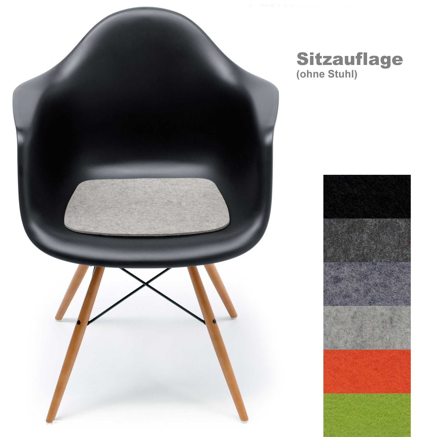 hey sign filz sitzauflage f r vitra eames plastic armchair stuhl ohne stuhl. Black Bedroom Furniture Sets. Home Design Ideas