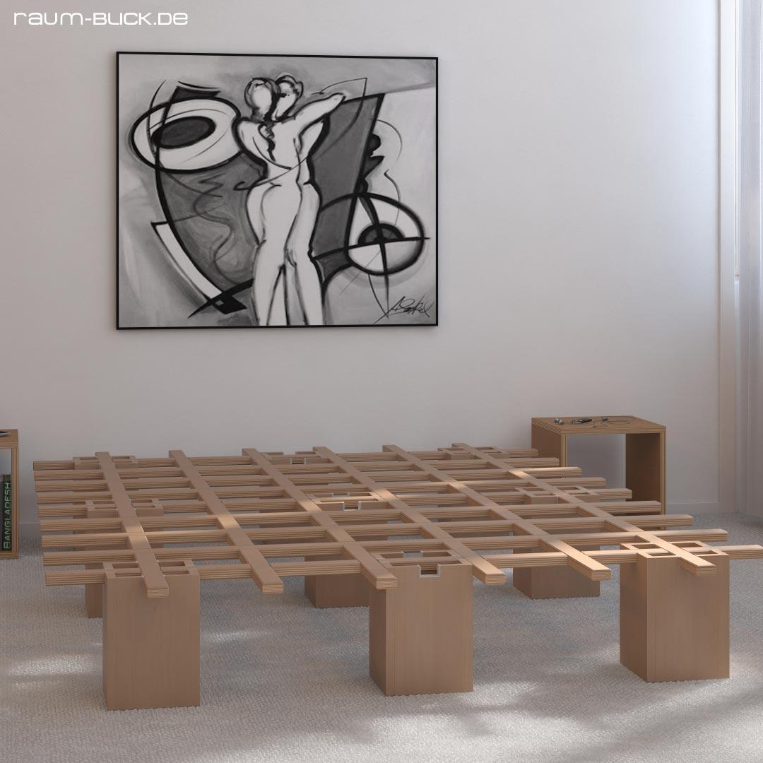 tojo system bett 90 x 200 cm bettgestell ohne matratze ebay. Black Bedroom Furniture Sets. Home Design Ideas