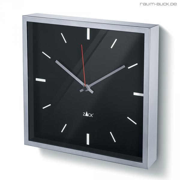 zack durata wanduhr uhr edelstahl viereckig schwarz 60063 ebay. Black Bedroom Furniture Sets. Home Design Ideas
