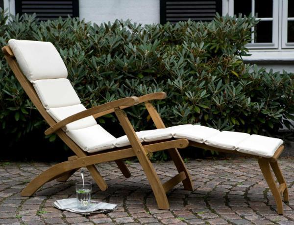 Skagerak Steamer Deckchair Liegestuhl aus hochwertigem Teakholz mit verstellbarer Rückenlehne