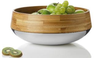 stelton Kontra Schale Obst- und Salatschale aus Bambus und Edelstahl