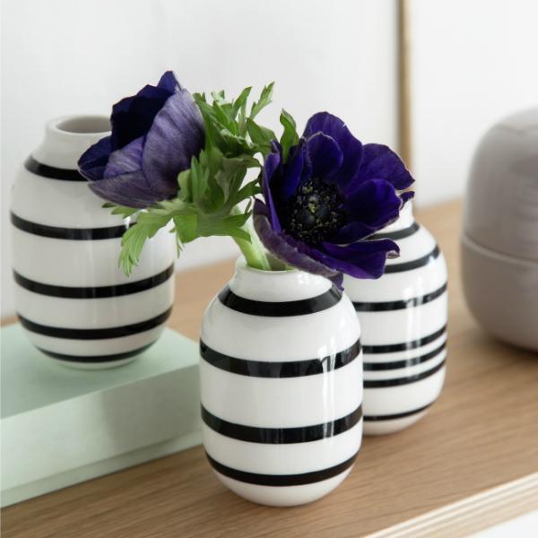 Omaggio Vase Mini schwarz weiss von Kaehler 3 Stueck