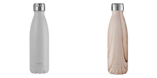 FLSK Trinkflasche 500 ml Classic Matt in Weiss und Eiche-Optik