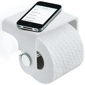 Toilettenpapierhalter mit Ablage / aus Mineralguss