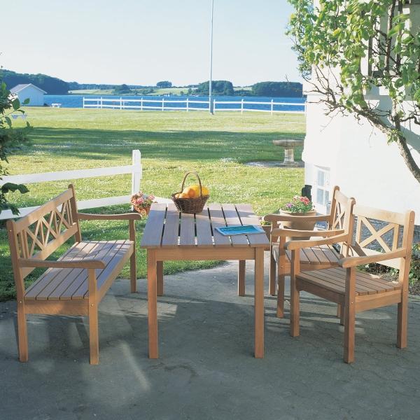 skagerak-skagen-set-teak-tisch-bank-2-stuehle Sommerabend auf der Terrasse