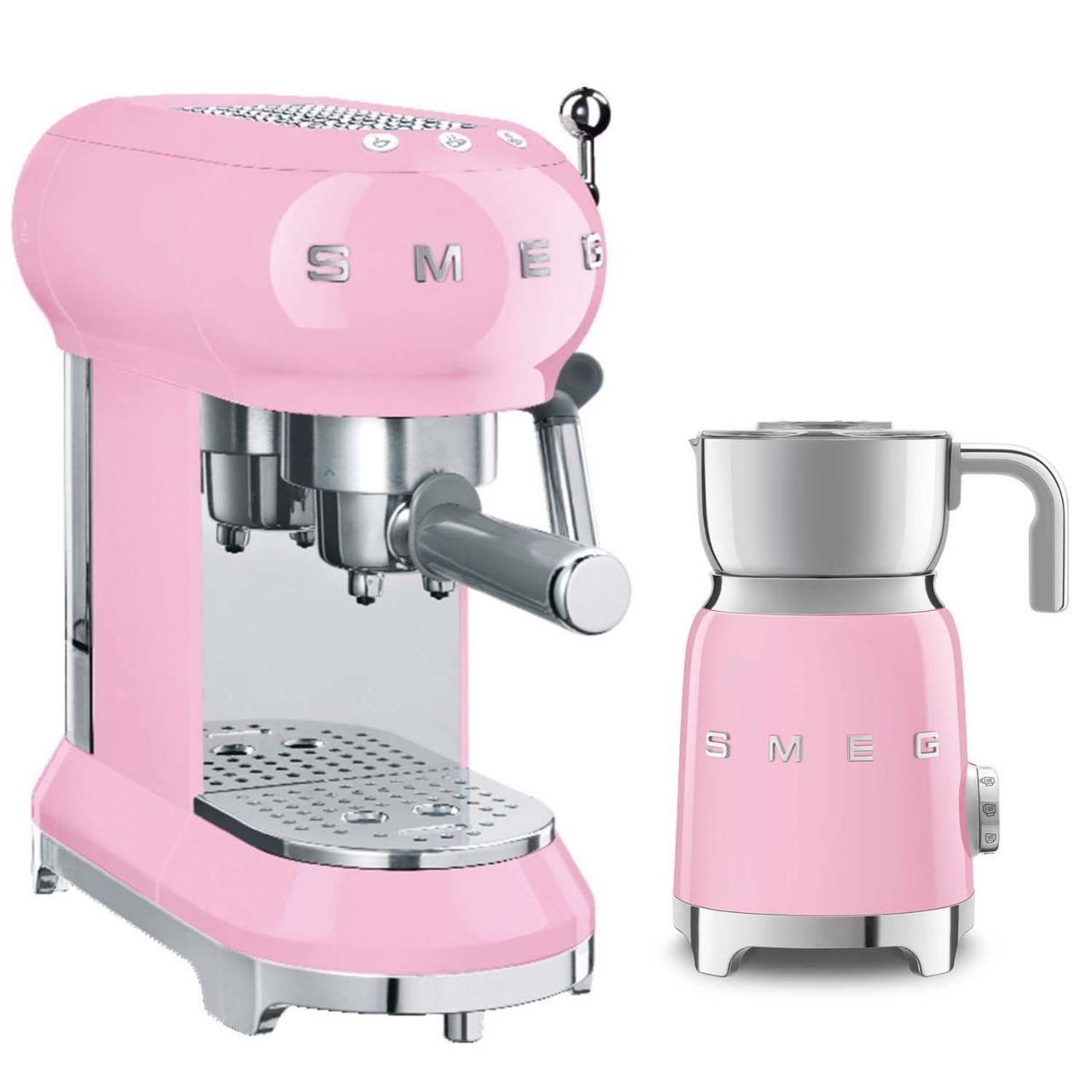 SMEG - Espressomaschine mit Milchaufschäumer Set MFF01PKEU-ESPRESS-SET