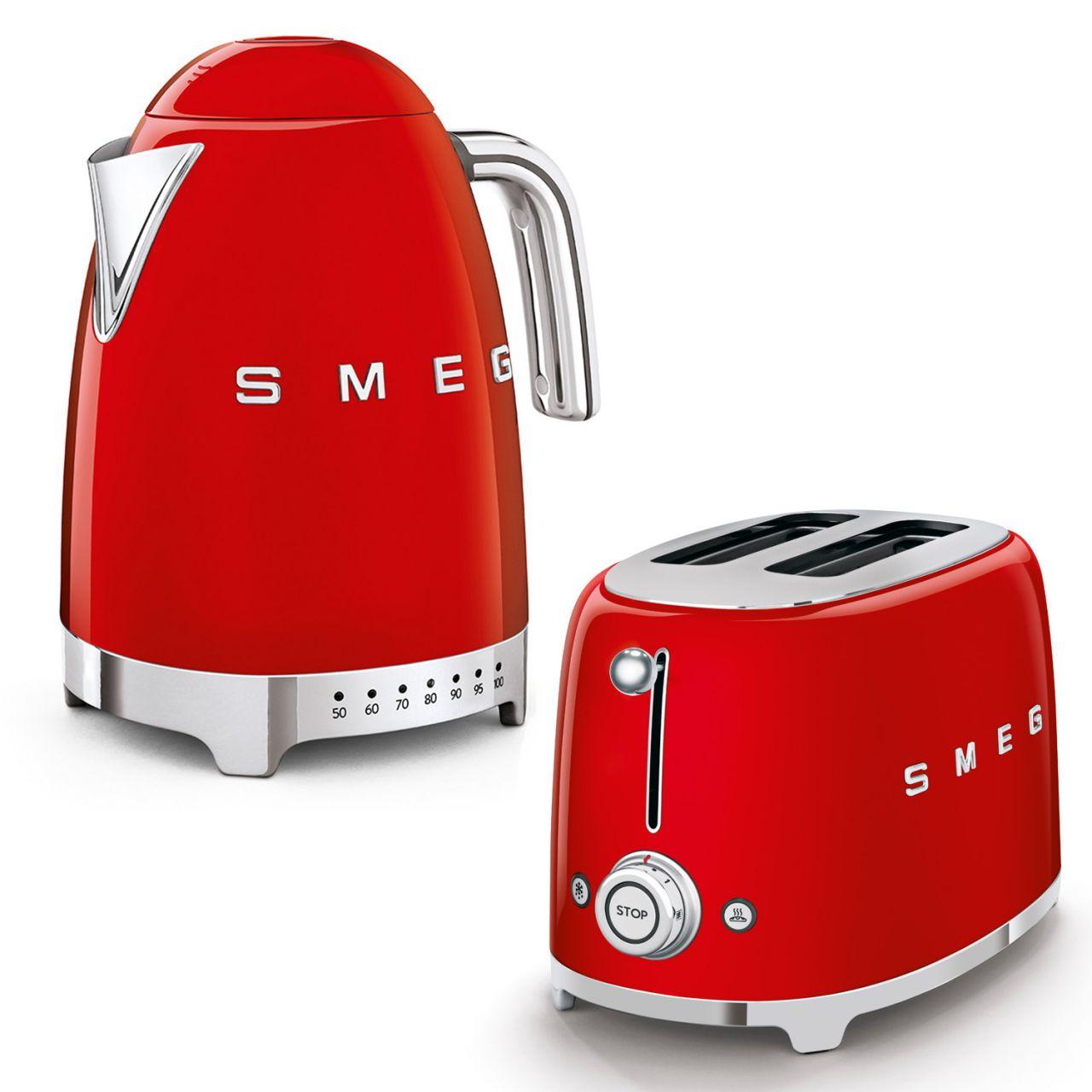 SMEG - Wasserkocher Temperaturwahl mit Toaster Set TSF01RDEU-KLF04RDEU