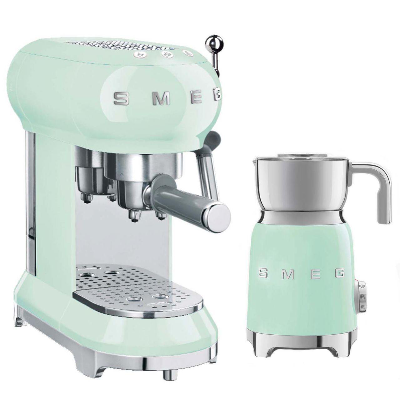 SMEG - Espressomaschine mit Milchaufschäumer Set MFF01PGEU-ESSPRESS-SET