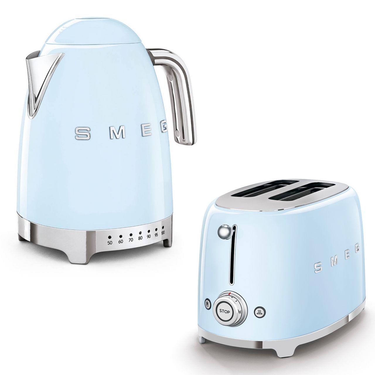 SMEG - Wasserkocher Temperaturwahl mit Toaster Set TSF01PBEU-KLF04PBEU